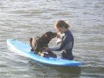 Lara Doing What She Loves - Training Dogs and Surfing